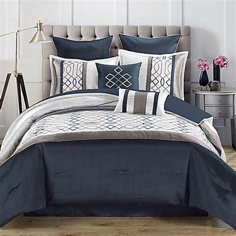 steel blue comforter tempo 8 piece comforter set in steel blue bed bath beyond