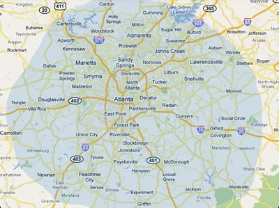 atlanta georgia surrounding area map map of atlanta and surrounding cities my blog