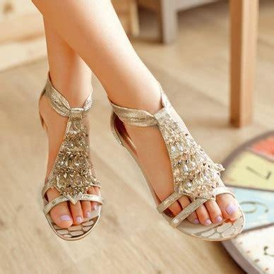 2014 style fashion sandals rhinestone flats sandals ankle back zip w31595