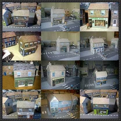 Papercraft Shops - 12 shop paper models free