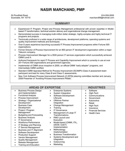 project manager resume ideal vistalist co