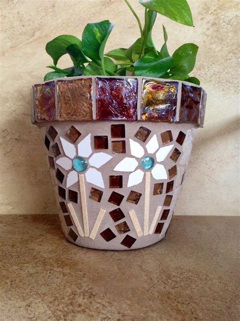 rustic mosaic planter large flower pot indoor herb