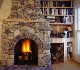 Story Stone Fireplace - stone fireplace with bookshelves beside in the cullen s