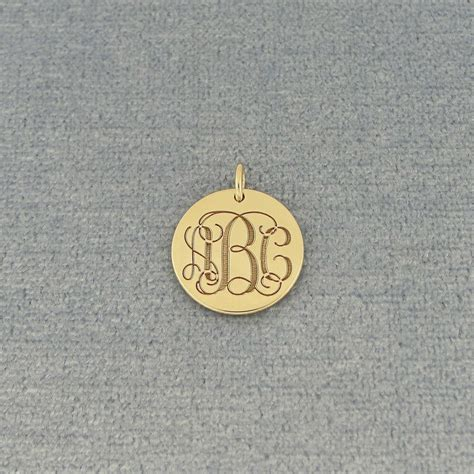 solid gold   engraved  initials monogram  disc