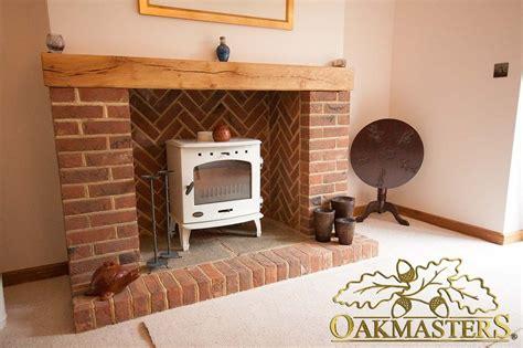 brick mantel fireplace modern brick fireplace with oak mantle beam 4926