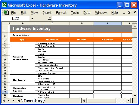 Computer Hardware Inventory Format In Excel How To Make Cage Traps Computer Inventory Template