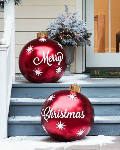 places that sell big christmas lutside balls outdoor merry ornaments set of 2 all things