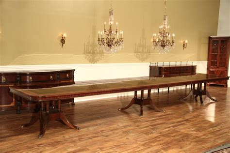16 Seater Dining Table Large Pedestal Mahogany Dining Table W 2 Leaves Pedestal Ebay