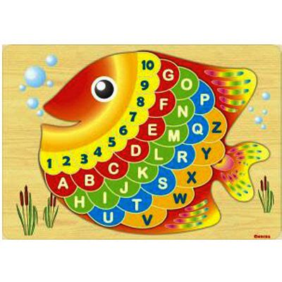 Limited Stock Mainan Edukatif Edukasi Anak Puzzle Stiker Kayu Knop puzzle ikan kayu seru
