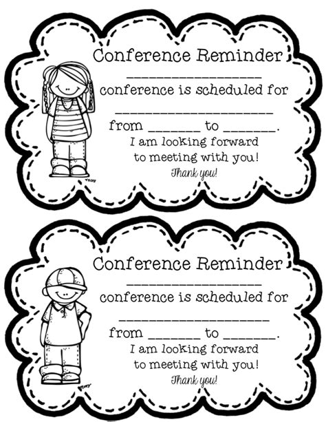 reminder templates for teachers parent conference reminder forms images