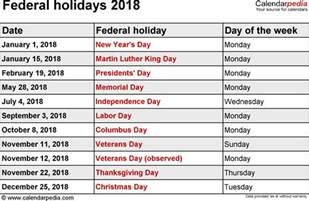 Us Holidays 2018 Calendar Federal Holidays 2018
