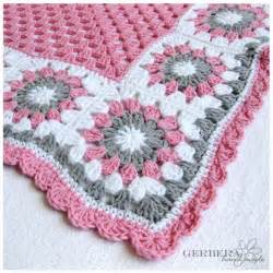 crochet baby blanket girl cottage style gray pink and