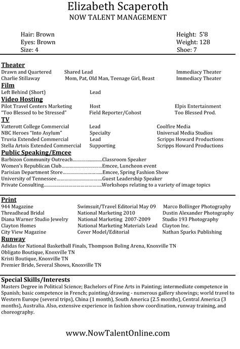 exle of model resume modeling resume template resume templates