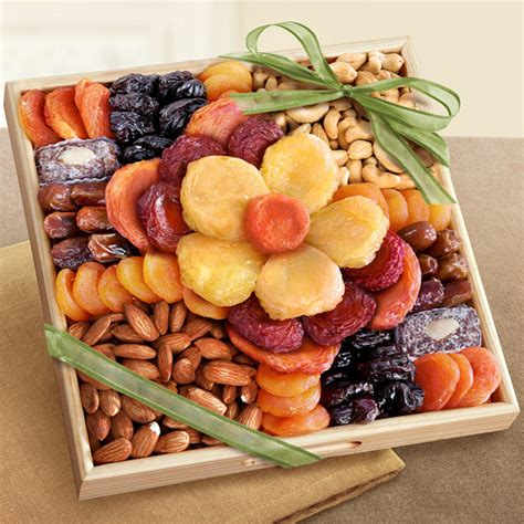 fruit and nut baskets dried fruit and nut flower gift tray aa gifts baskets