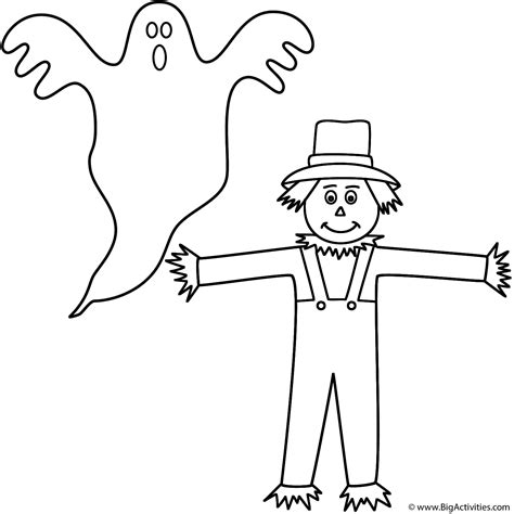 easy scarecrow coloring pages ghost with scarecrow coloring page halloween