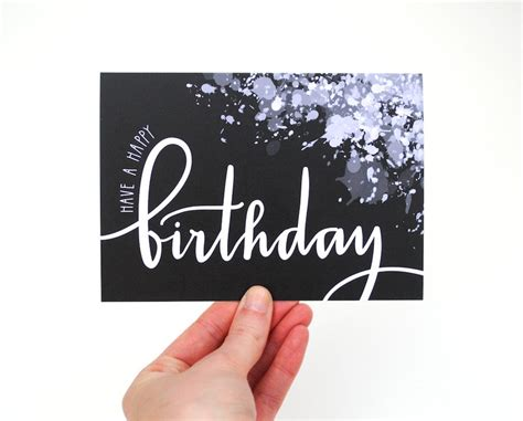 Black Birthday Card Paint Splatter Birthday Card Black And White Modern