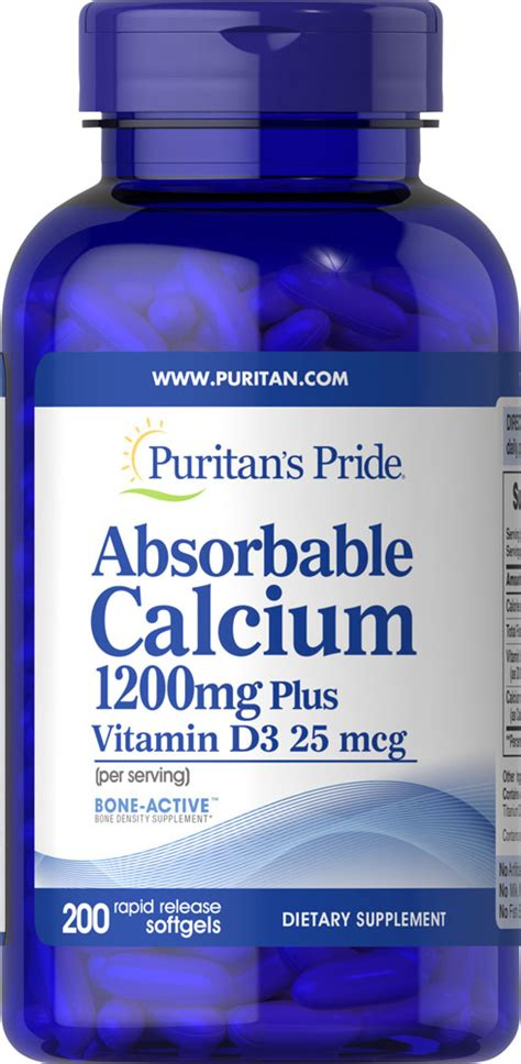 puritan s pride absorbable calcium 1200 mg with vitamin d3 1000 iu 200 softgels 25077148356 ebay