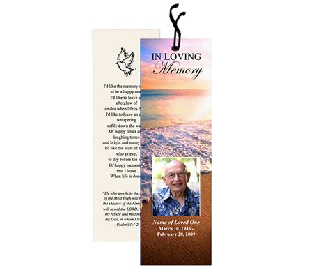 Funeral Bookmarks Template Free by Memorial Bookmarks Radiance Bookmark