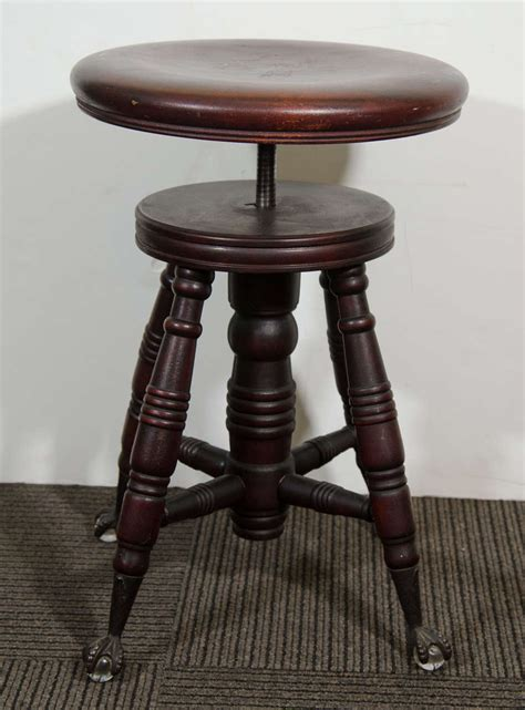 Piano Stool Antique by Antique Mahogany Turned Wood Adjustable Piano Stool At 1stdibs