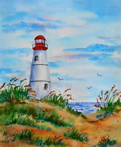 Lovell Beach House by White Lighthouse Watercolor Beach Coast By Colorado Artist