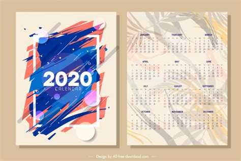 calendar template abstract blurred design leaves ornament  vector  adobe illustrator