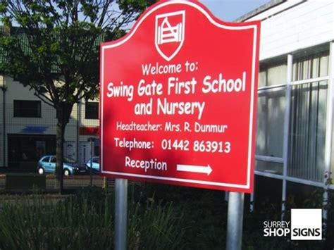 swing gate school school signs entrance sign boards surrey shop signs