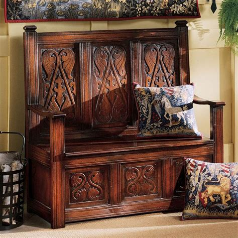 entry benches shop design toscano antique mahogany indoor entryway bench with storage at lowes com