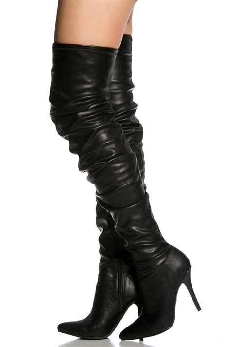 black faux leather pointed toe thigh high boots cicihot