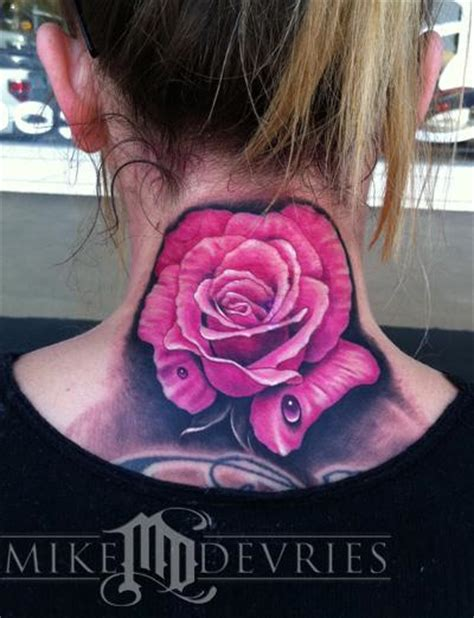 black and pink rose tattoo pink by mike devries tattoos
