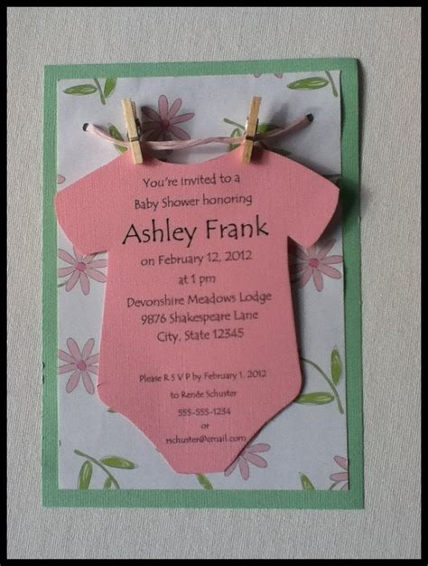 Handmade Baby Shower Invitations Ideas - onesie on a clothesline baby shower invitation neutral