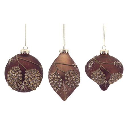 christmas ornaments bronze pinecones pack of 6 rustic brown and bronze pine cone glass and drop ornaments