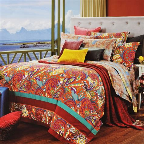 Cotton Duvet Cover Queen Orange Red Gold And Blue Western Paisley Bohemian Chic