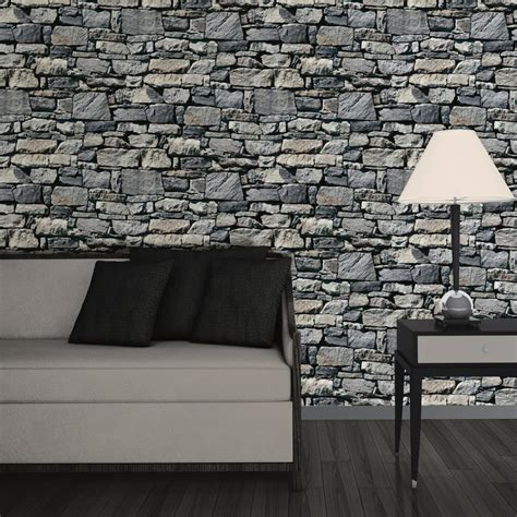 wallpaper 3d stone muriva dry stone wall 3d effect wallpaper grey http