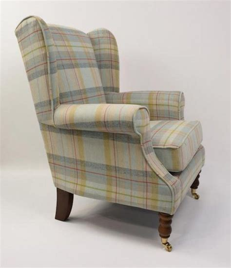 tartan wingback chair iona duck egg tartan wingback chair fabric tartan