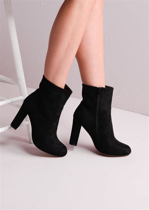 zip suede block heel ankle boots black