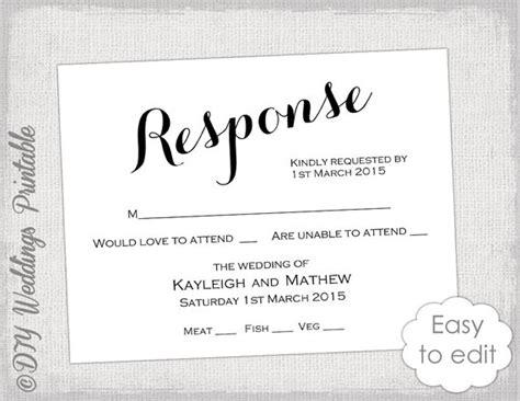 Rsvp Template Diy Calligraphy Carolyna Printable Wedding Response Card Template