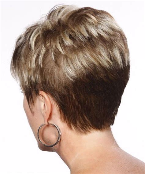 stacked cut hairstyle for older women very short stacked bob front and back view very short