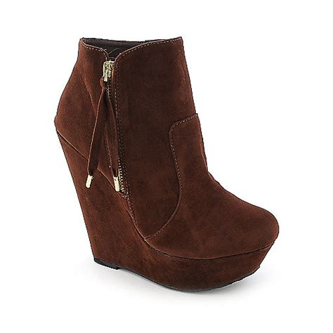 doll house boots dollhouse villain womens chestnut platform wedged ankle boot