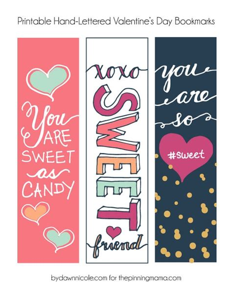 printable bookmarks cool hand lettered valentine s bookmark printables the