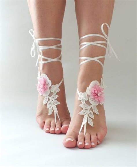 Lace Sandals Wedding by Ivory Pink Lace Barefoot Sandals Wedding Shoes Wedding