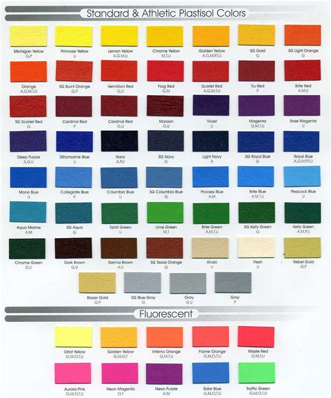 gcmi colors standard athletic plastisol colors flourescent