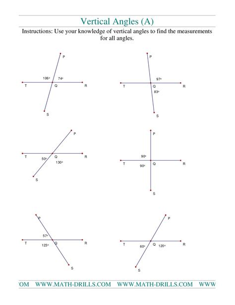 Angles Worksheet by Vertical Angles A
