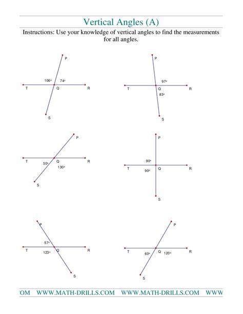 Vertical Angles Worksheet vertical angles a geometry worksheet