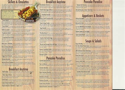 menu front picture of country kitchen sault ste