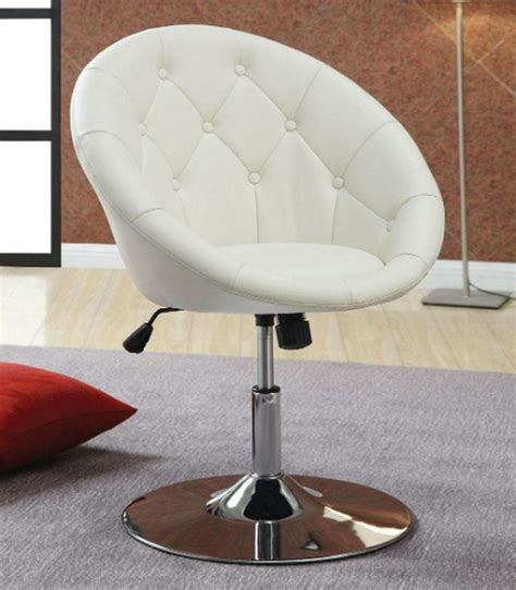 White Leather Swivel Chair by Coaster 102583 White Leather Swivel Chair A Sofa
