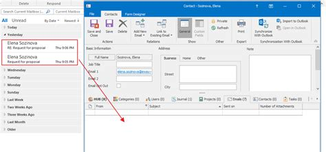save email link selected emails with contacts manually in two clicks