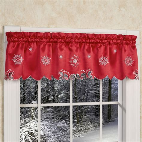snowflake lace curtains metallic snowflake red holiday valance