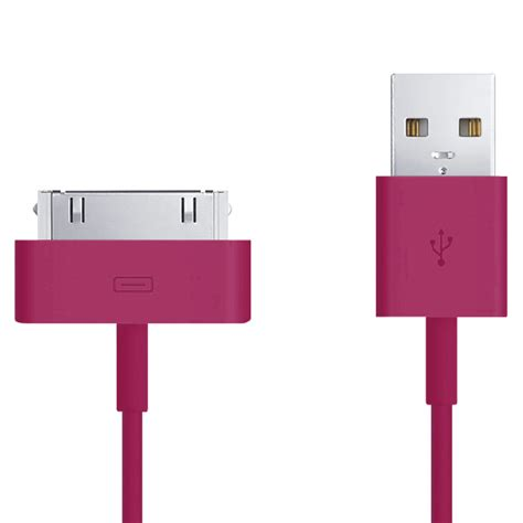 Apple 30 Pin To Usb Cable Data For Iphone Ipod 1m White T2523 apple 30 pin to usb charging cable iphone 1m pink