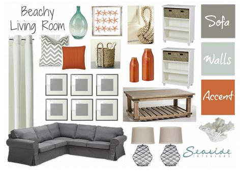 Relaxing Colors For Bedroom seaside interiors beachy living room with grays and orange