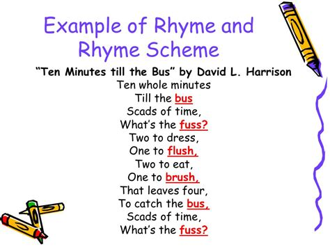 exle of rhyme poetry grade ppt